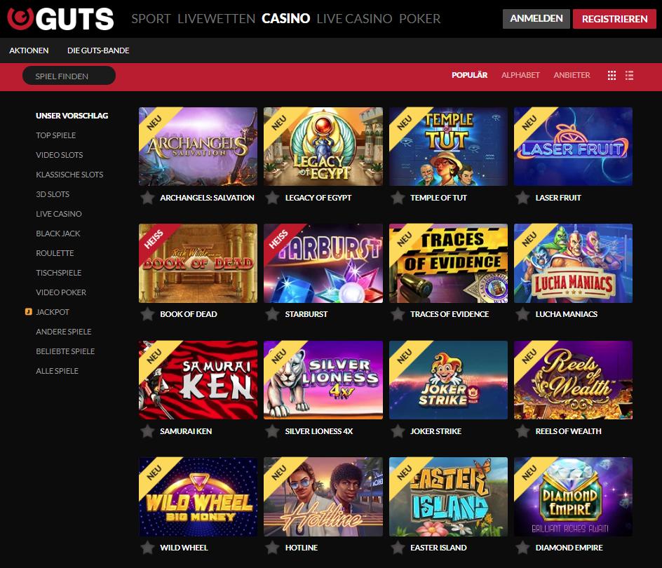 Guts Casino Spiele