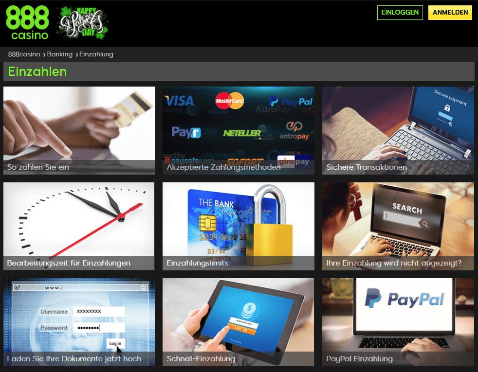 Verfügbare Zahlungsmethoden beim 888 Casino