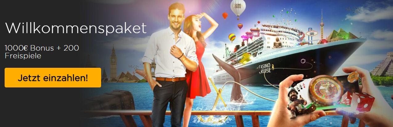 1.000€ und 200 Freispiele – das verlockende Willkommenspaket im Casino Cruise