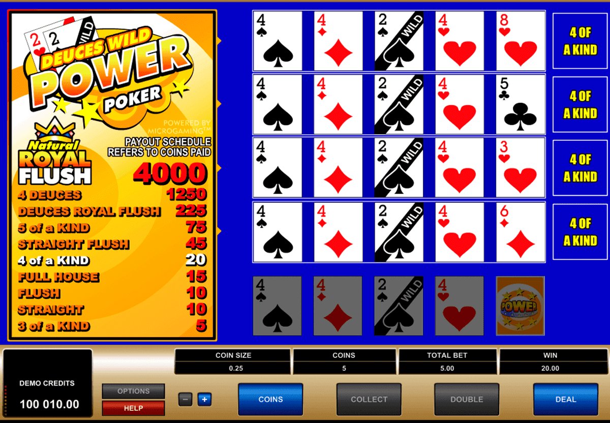 Deuces Wild 4 Play Power Poker