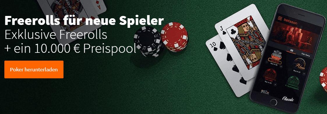 Freerolls beim Poker für Neulinge – Werden Sie bei Betsson zum Pokerprofi