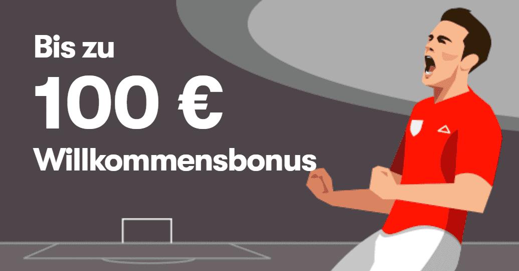 Sichern Sie sich für Ihre erste Einzahlung einen 50% bis 100€ Sportwetten Bonus