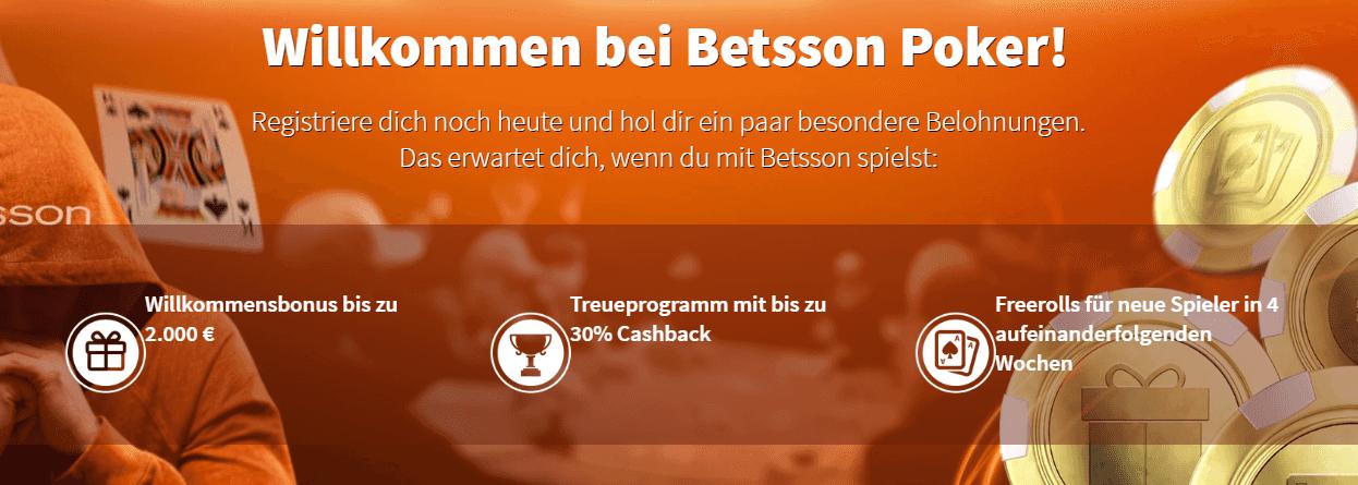 Willkommen bei Betsson Poker – Erhalten Sie als Neukunde einen Bonus von bis zu 2.000€